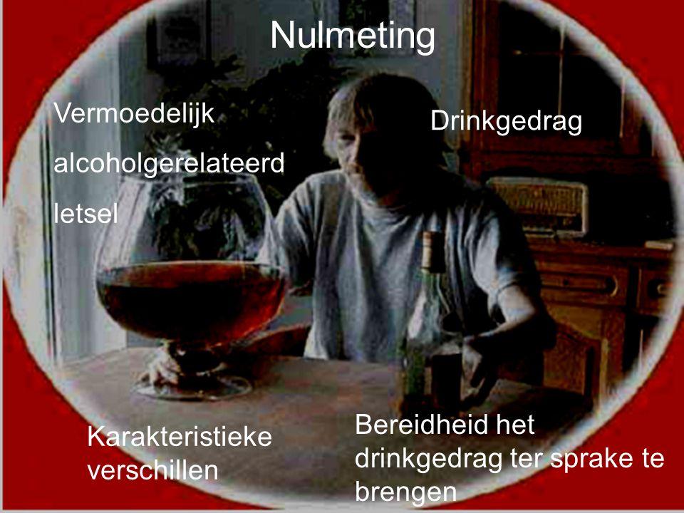 7 Vermoedelijk alcoholgerelateerd letsel Karakteristieke verschillen Bereidheid het drinkgedrag ter sprake te brengen Drinkgedrag Nulmeting