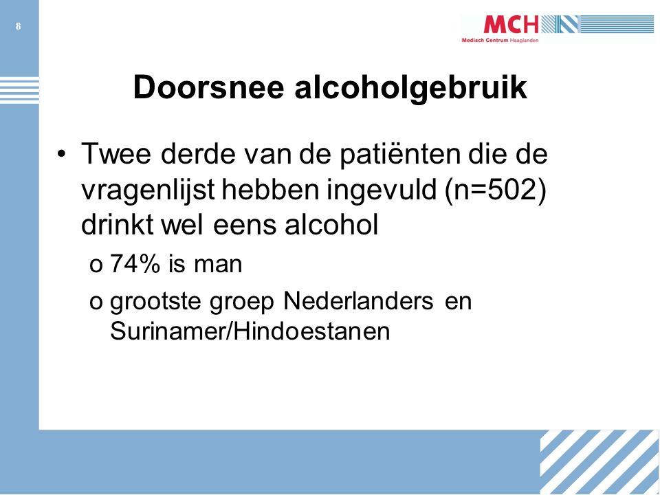 8 Doorsnee alcoholgebruik Twee derde van de patiënten die de vragenlijst hebben ingevuld (n=502) drinkt wel eens alcohol o74% is man ogrootste groep Nederlanders en Surinamer/Hindoestanen