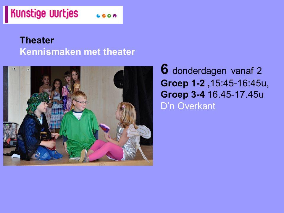 Theater Kennismaken met theater 6 donderdagen vanaf 2 Groep 1-2,15:45-16:45u, Groep 3-4 16.45-17.45u D'n Overkant