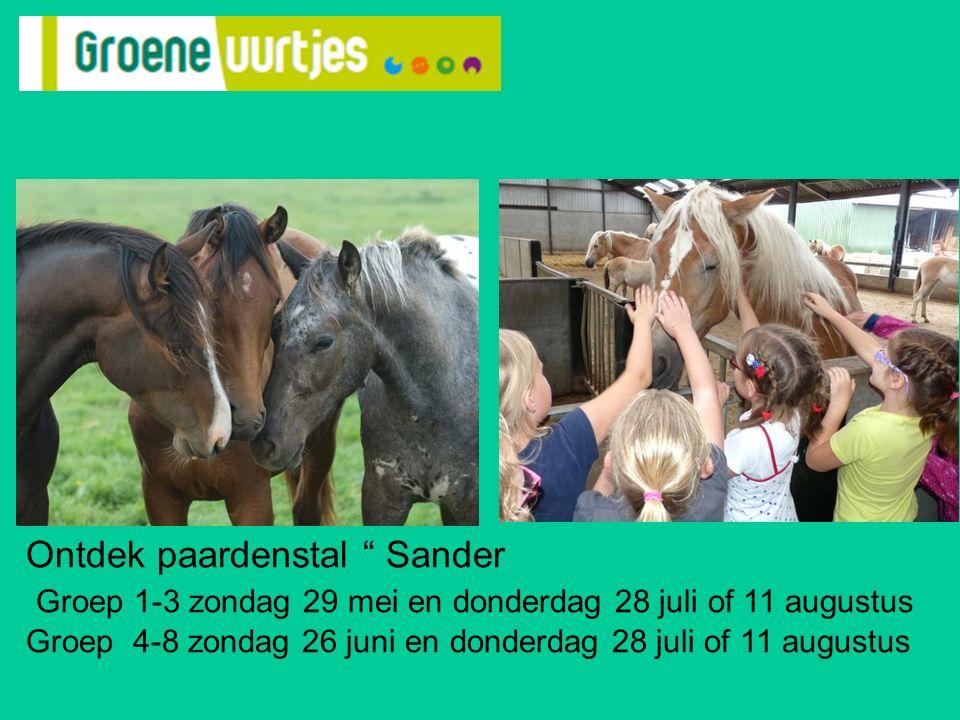 Ontdek paardenstal Sander Groep 1-3 zondag 29 mei en donderdag 28 juli of 11 augustus Groep 4-8 zondag 26 juni en donderdag 28 juli of 11 augustus