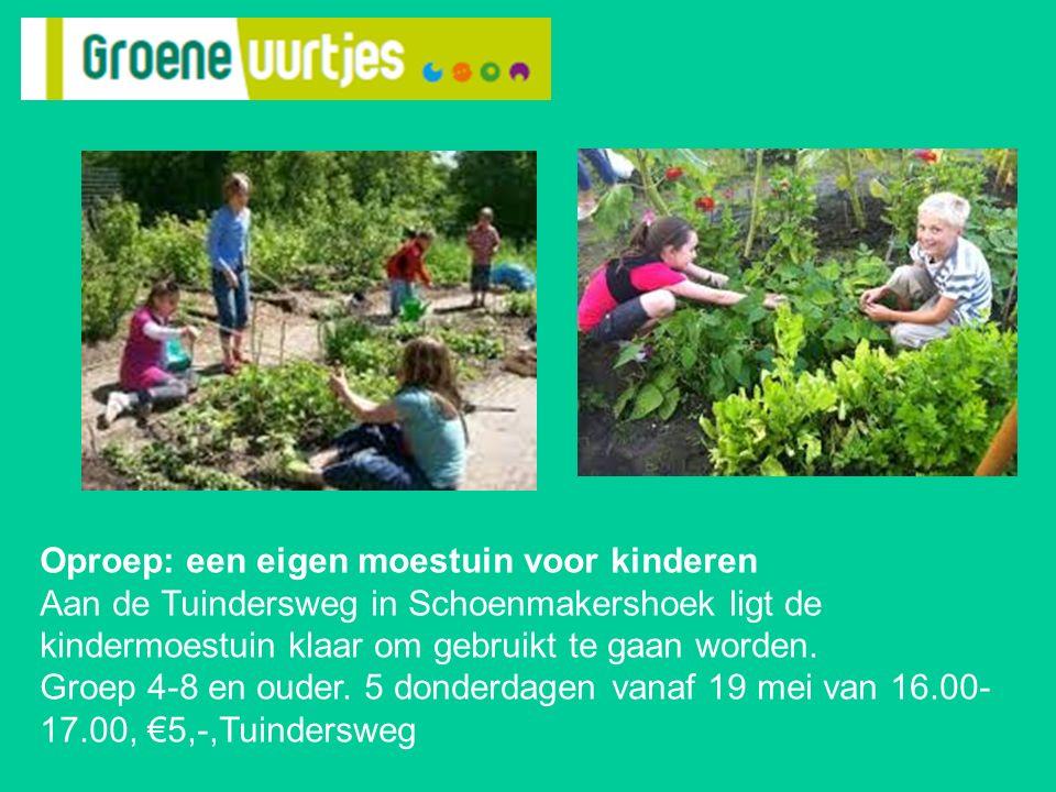 Oproep: een eigen moestuin voor kinderen Aan de Tuindersweg in Schoenmakershoek ligt de kindermoestuin klaar om gebruikt te gaan worden. Groep 4-8 en