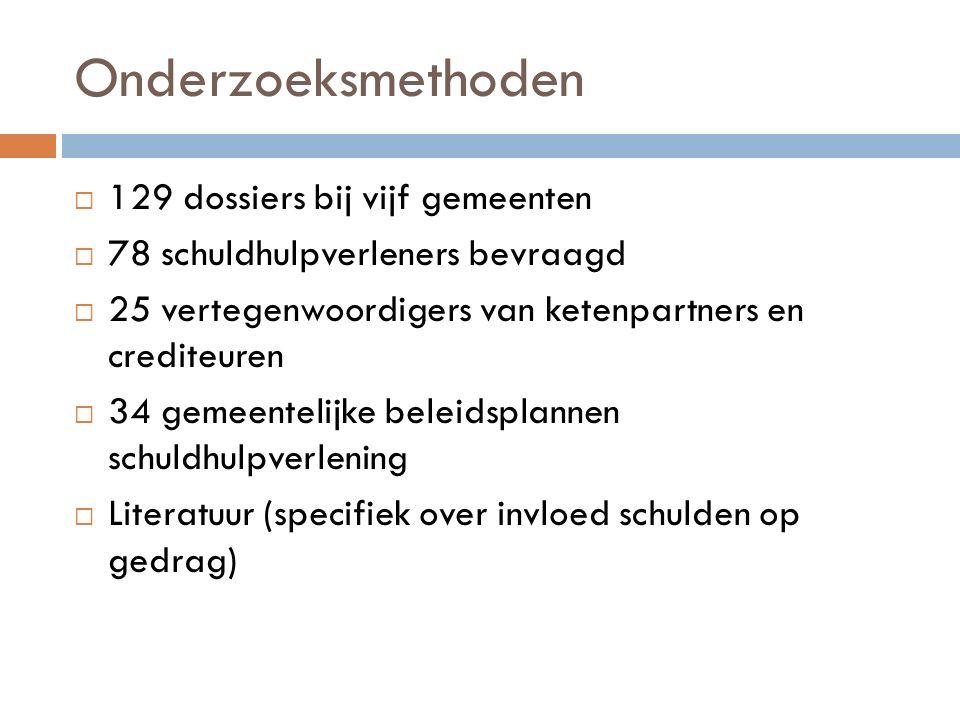 Onderzoeksmethoden  129 dossiers bij vijf gemeenten  78 schuldhulpverleners bevraagd  25 vertegenwoordigers van ketenpartners en crediteuren  34 g