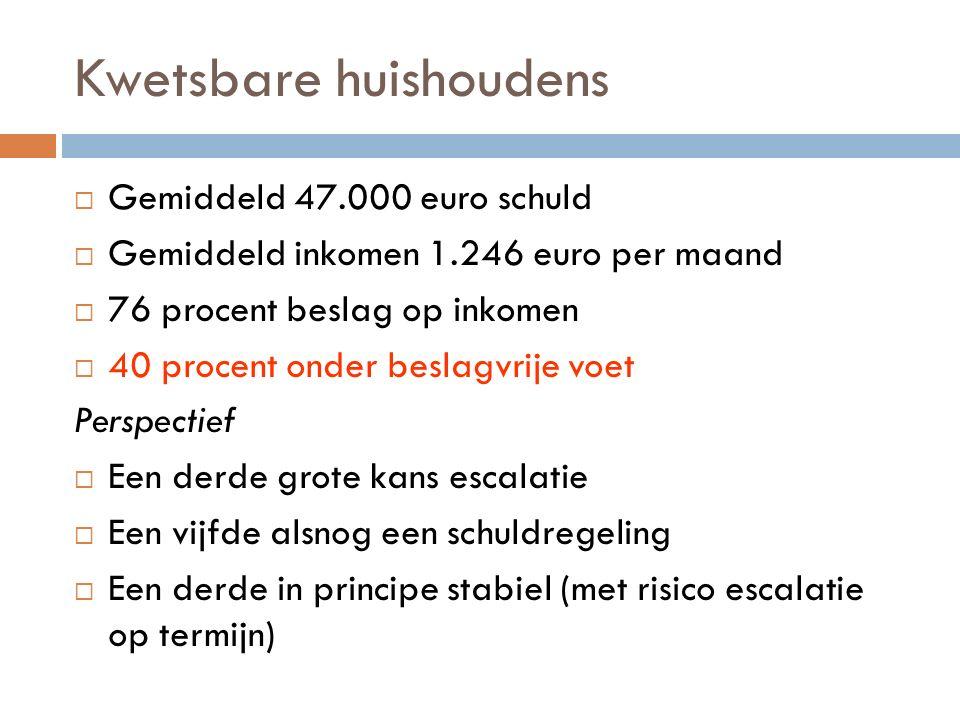 Kwetsbare huishoudens  Gemiddeld 47.000 euro schuld  Gemiddeld inkomen 1.246 euro per maand  76 procent beslag op inkomen  40 procent onder beslag