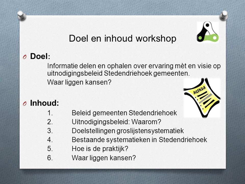 Doel en inhoud workshop O Doel : Informatie delen en ophalen over ervaring mèt en visie op uitnodigingsbeleid Stedendriehoek gemeenten.