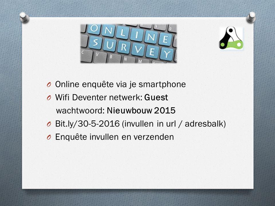 O Online enquête via je smartphone O Wifi Deventer netwerk: Guest wachtwoord: Nieuwbouw 2015 O Bit.ly/30-5-2016 (invullen in url / adresbalk) O Enquête invullen en verzenden