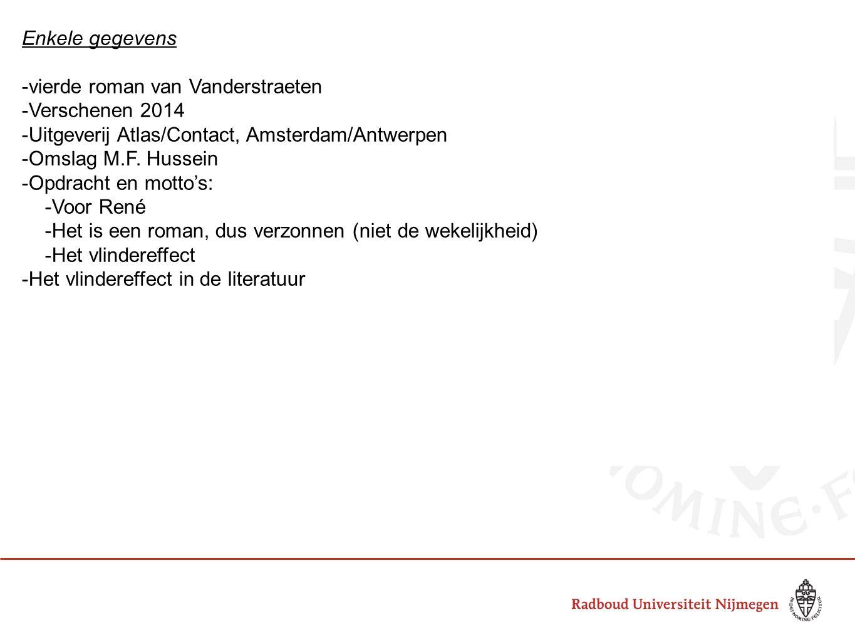 Enkele gegevens -vierde roman van Vanderstraeten -Verschenen 2014 -Uitgeverij Atlas/Contact, Amsterdam/Antwerpen -Omslag M.F.