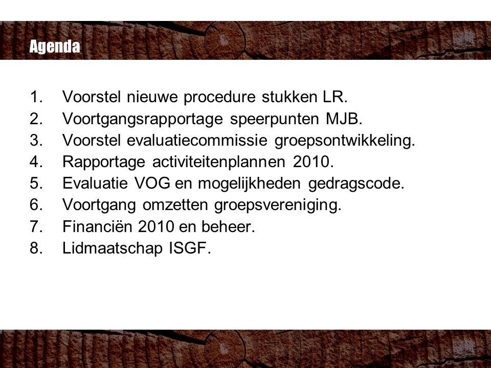 Agenda 1.Voorstel nieuwe procedure stukken LR. 2.Voortgangsrapportage speerpunten MJB.