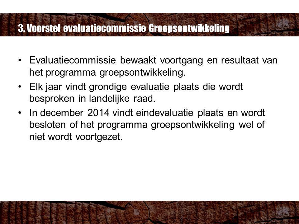 3. Voorstel evaluatiecommissie Groepsontwikkeling Evaluatiecommissie bewaakt voortgang en resultaat van het programma groepsontwikkeling. Elk jaar vin