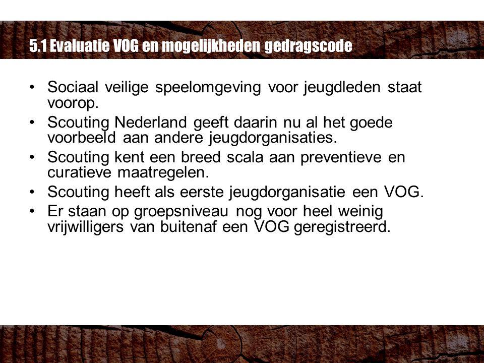 5.1 Evaluatie VOG en mogelijkheden gedragscode Sociaal veilige speelomgeving voor jeugdleden staat voorop.