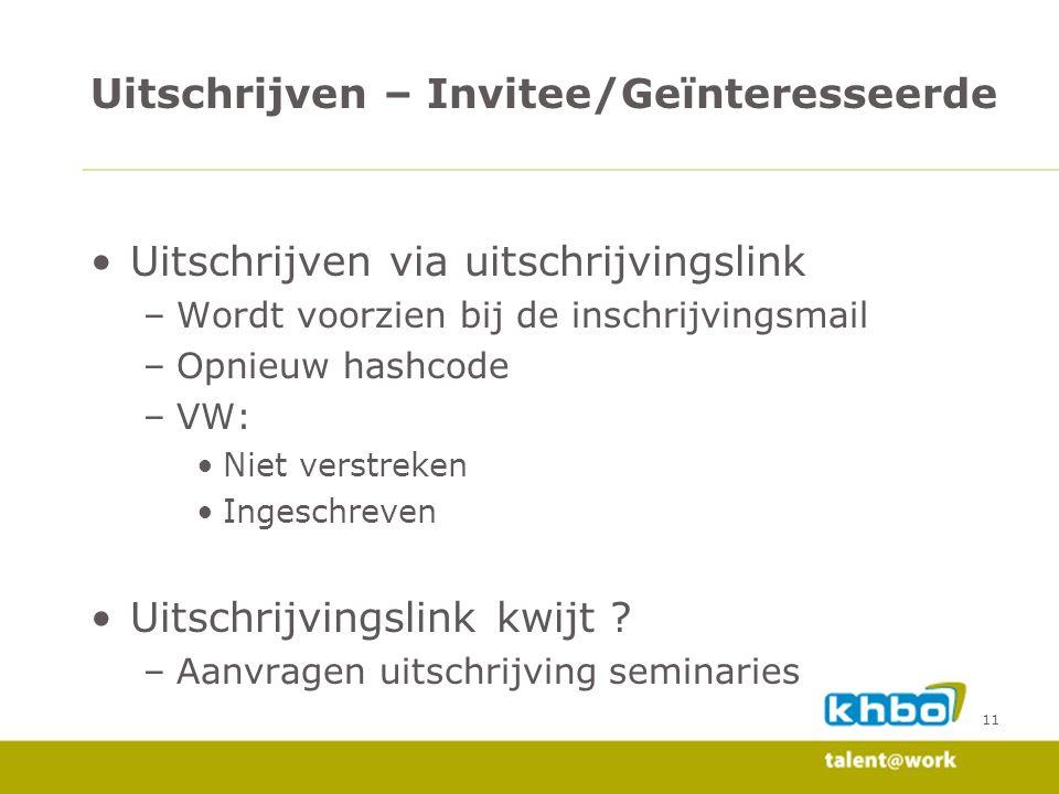 11 Uitschrijven via uitschrijvingslink –Wordt voorzien bij de inschrijvingsmail –Opnieuw hashcode –VW: Niet verstreken Ingeschreven Uitschrijvingslink kwijt .