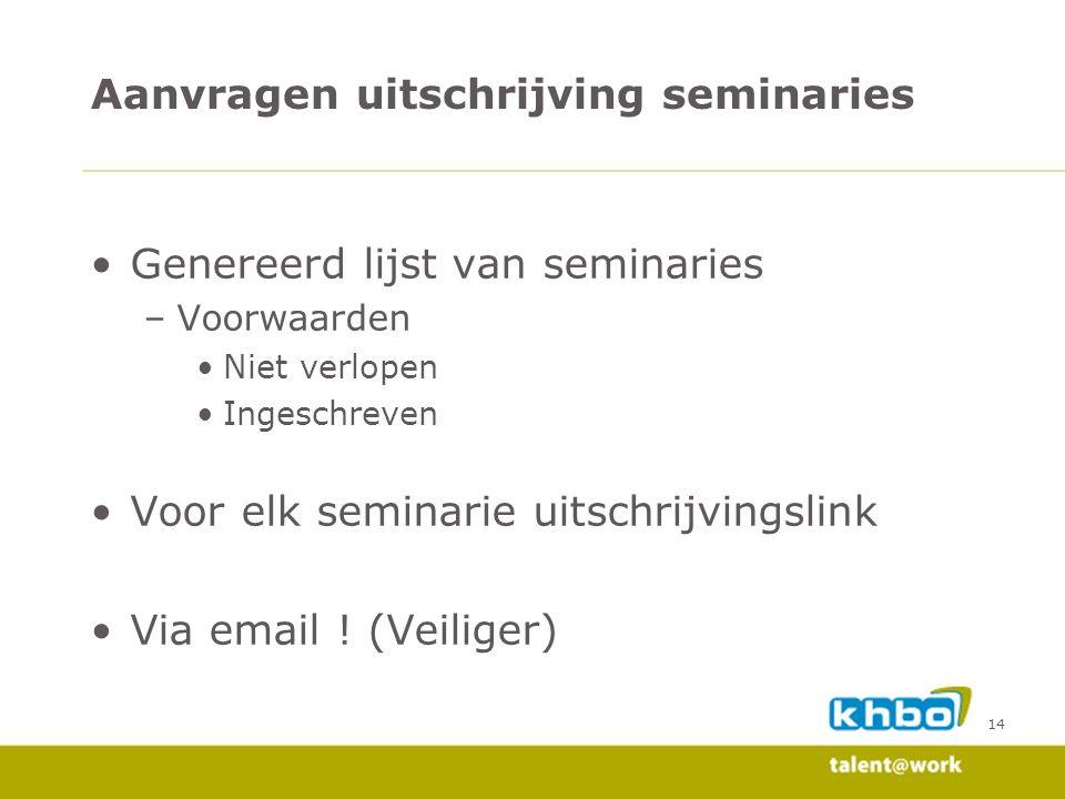 14 Genereerd lijst van seminaries –Voorwaarden Niet verlopen Ingeschreven Voor elk seminarie uitschrijvingslink Via email .