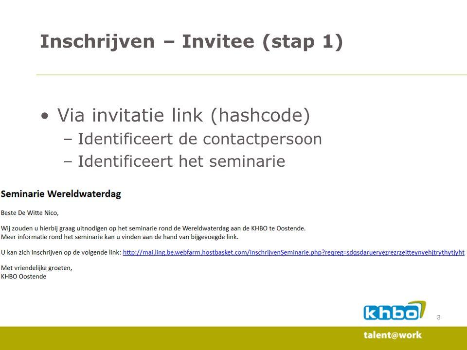 3 Via invitatie link (hashcode) –Identificeert de contactpersoon –Identificeert het seminarie Inschrijven – Invitee (stap 1)