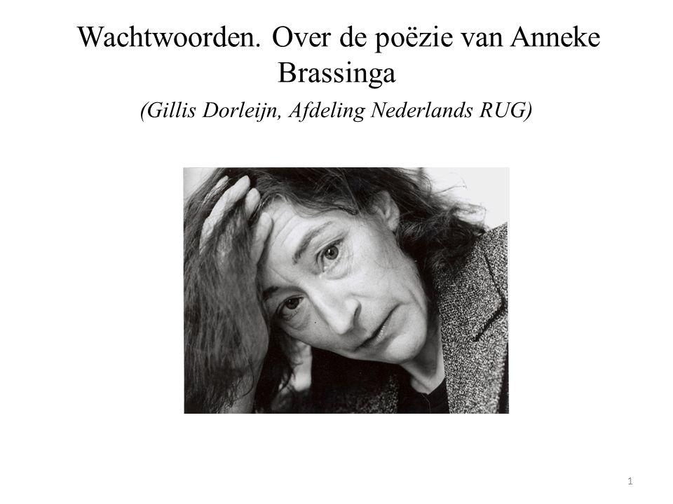 Wachtwoorden. Over de poëzie van Anneke Brassinga (Gillis Dorleijn, Afdeling Nederlands RUG) 1