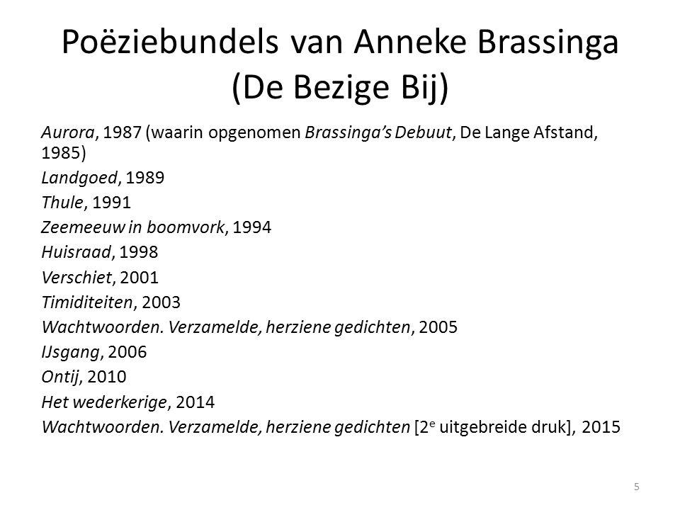 Poëziebundels van Anneke Brassinga (De Bezige Bij) Aurora, 1987 (waarin opgenomen Brassinga's Debuut, De Lange Afstand, 1985) Landgoed, 1989 Thule, 1991 Zeemeeuw in boomvork, 1994 Huisraad, 1998 Verschiet, 2001 Timiditeiten, 2003 Wachtwoorden.
