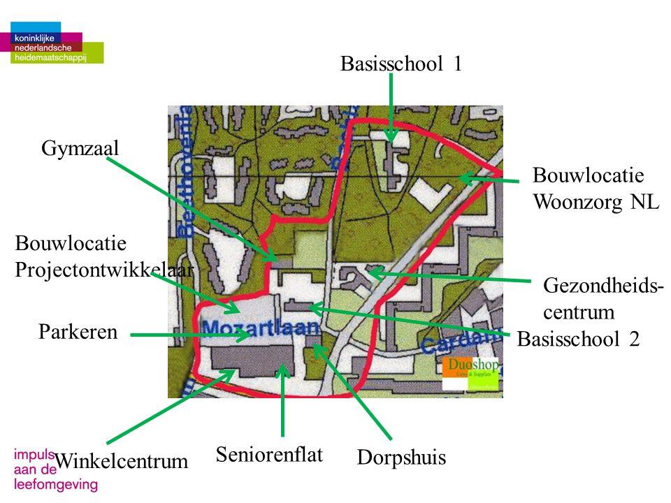 Basisschool 1 Basisschool 2 Winkelcentrum Seniorenflat Dorpshuis Gymzaal Bouwlocatie Woonzorg NL Bouwlocatie Projectontwikkelaar Parkeren Gezondheids-