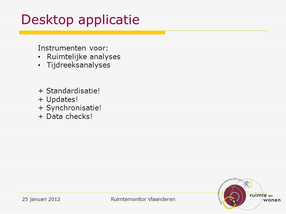 D esktop applicatie Instrumenten voor: Ruimtelijke analyses Tijdreeksanalyses + Standardisatie.