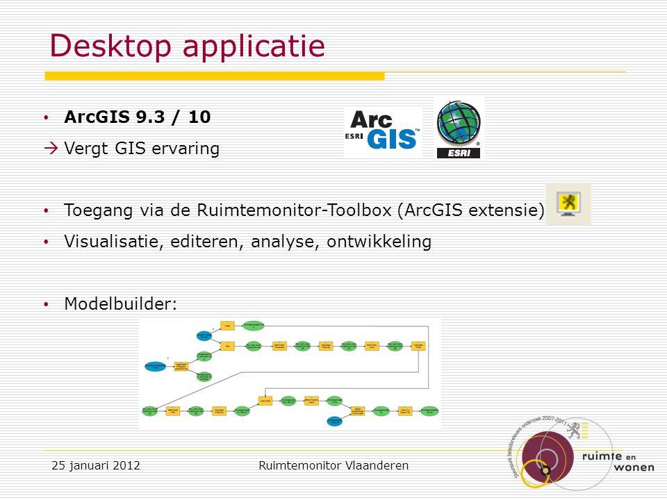 D esktop applicatie ArcGIS 9.3 / 10  Vergt GIS ervaring Toegang via de Ruimtemonitor-Toolbox (ArcGIS extensie) Visualisatie, editeren, analyse, ontwikkeling Modelbuilder: 25 januari 2012Ruimtemonitor Vlaanderen