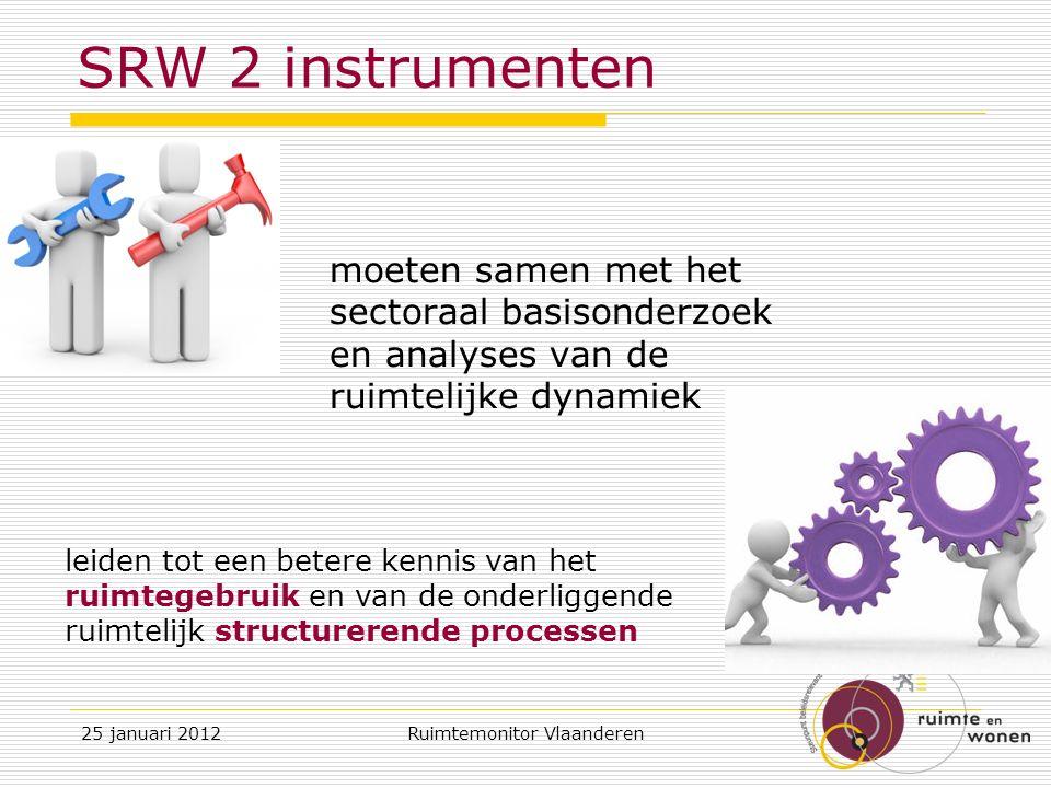 SRW 2 instrumenten moeten samen met het sectoraal basisonderzoek en analyses van de ruimtelijke dynamiek 25 januari 2012Ruimtemonitor Vlaanderen leiden tot een betere kennis van het ruimtegebruik en van de onderliggende ruimtelijk structurerende processen