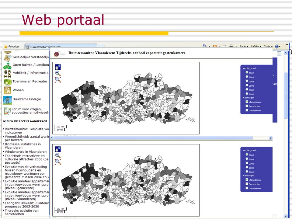 Web portaal October 6, 2011Spatial Monitor Flanders Acces via internet browser www.ruimtemonitor.be (in dutch, registration required)www.ruimtemonitor.be Content = indicators generated by researchers support centre