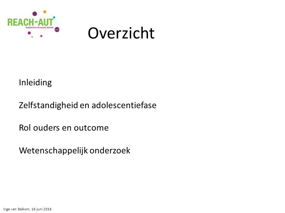 Inge van Balkom, 16 juni 2016 Inleiding Zelfstandigheid en adolescentiefase Rol ouders en outcome Wetenschappelijk onderzoek Overzicht