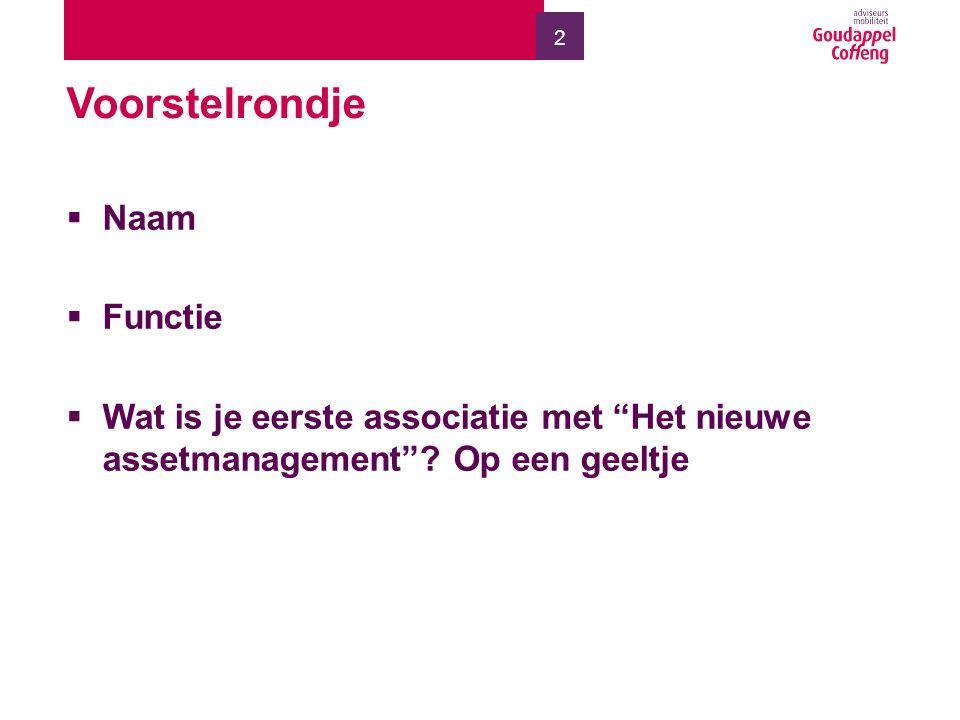 2 Voorstelrondje  Naam  Functie  Wat is je eerste associatie met Het nieuwe assetmanagement .