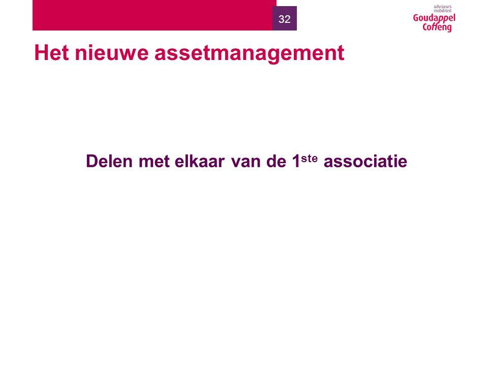 32 Het nieuwe assetmanagement Delen met elkaar van de 1 ste associatie