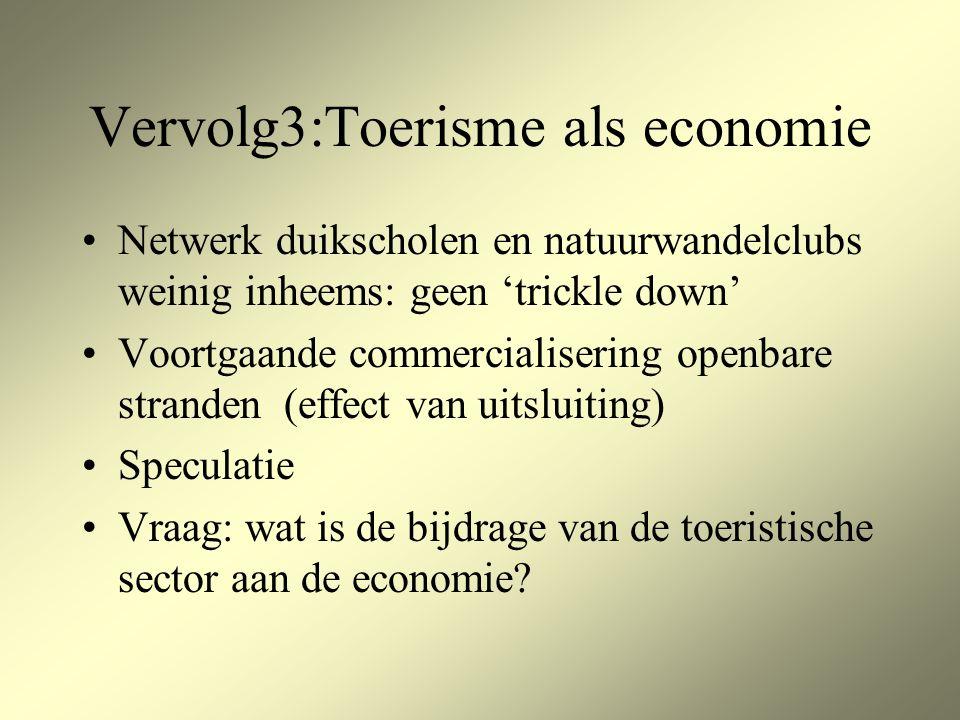 Vervolg3:Toerisme als economie Netwerk duikscholen en natuurwandelclubs weinig inheems: geen 'trickle down' Voortgaande commercialisering openbare stranden (effect van uitsluiting) Speculatie Vraag: wat is de bijdrage van de toeristische sector aan de economie?