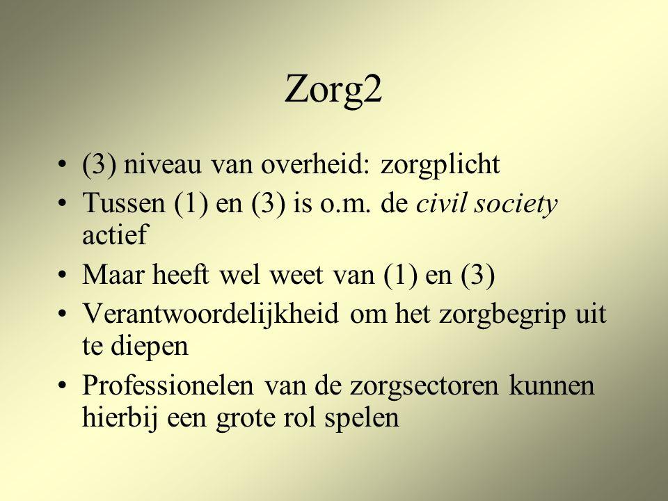 Zorg2 (3) niveau van overheid: zorgplicht Tussen (1) en (3) is o.m.