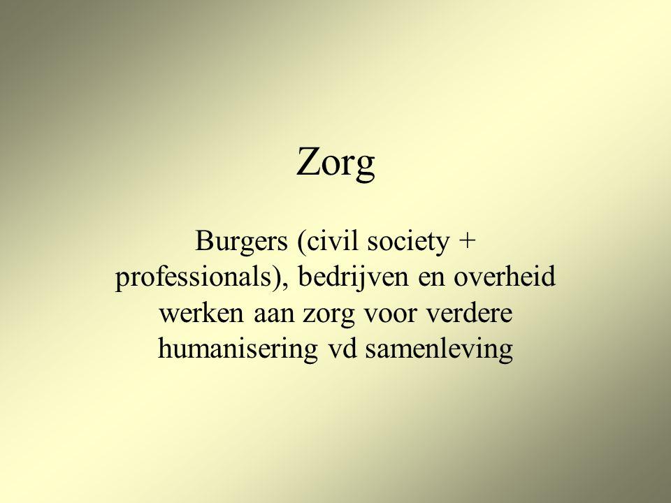 Zorg Burgers (civil society + professionals), bedrijven en overheid werken aan zorg voor verdere humanisering vd samenleving
