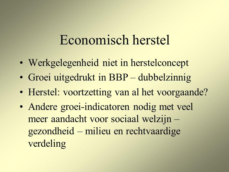 Economisch herstel Werkgelegenheid niet in herstelconcept Groei uitgedrukt in BBP – dubbelzinnig Herstel: voortzetting van al het voorgaande.