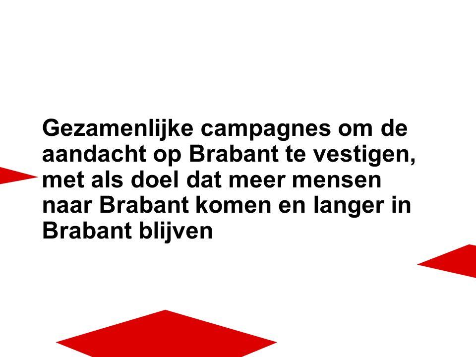 Gezamenlijke campagnes om de aandacht op Brabant te vestigen, met als doel dat meer mensen naar Brabant komen en langer in Brabant blijven