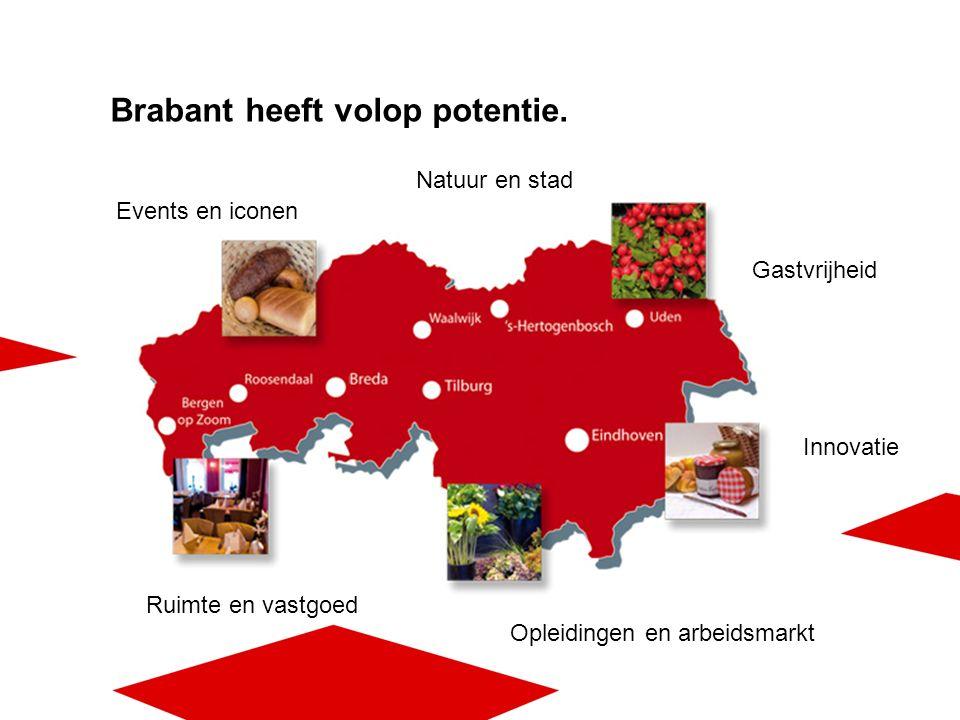 Ruimte en vastgoed Natuur en stad Opleidingen en arbeidsmarkt Gastvrijheid Events en iconen Innovatie Brabant heeft volop potentie.