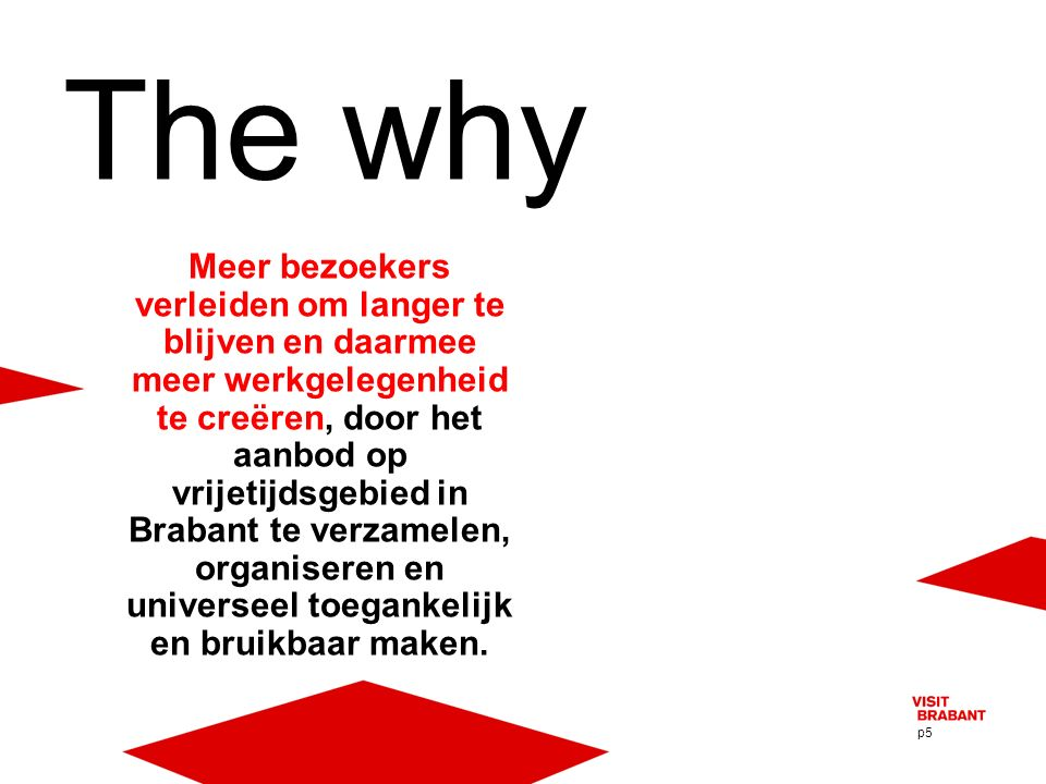 p5 Meer bezoekers verleiden om langer te blijven en daarmee meer werkgelegenheid te creëren, door het aanbod op vrijetijdsgebied in Brabant te verzamelen, organiseren en universeel toegankelijk en bruikbaar maken.
