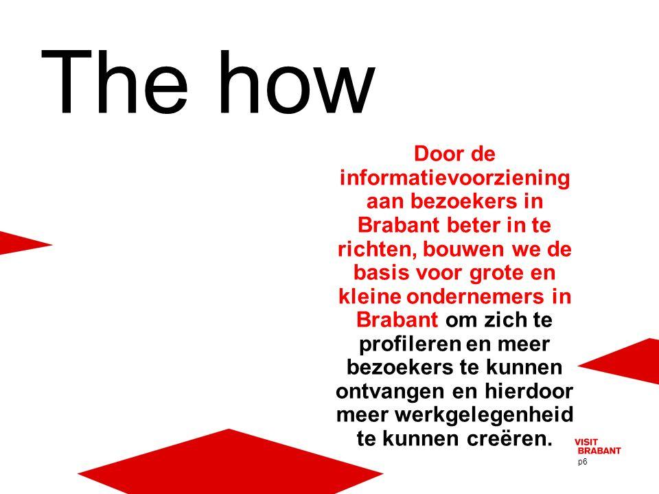 p6 Door de informatievoorziening aan bezoekers in Brabant beter in te richten, bouwen we de basis voor grote en kleine ondernemers in Brabant om zich te profileren en meer bezoekers te kunnen ontvangen en hierdoor meer werkgelegenheid te kunnen creëren.