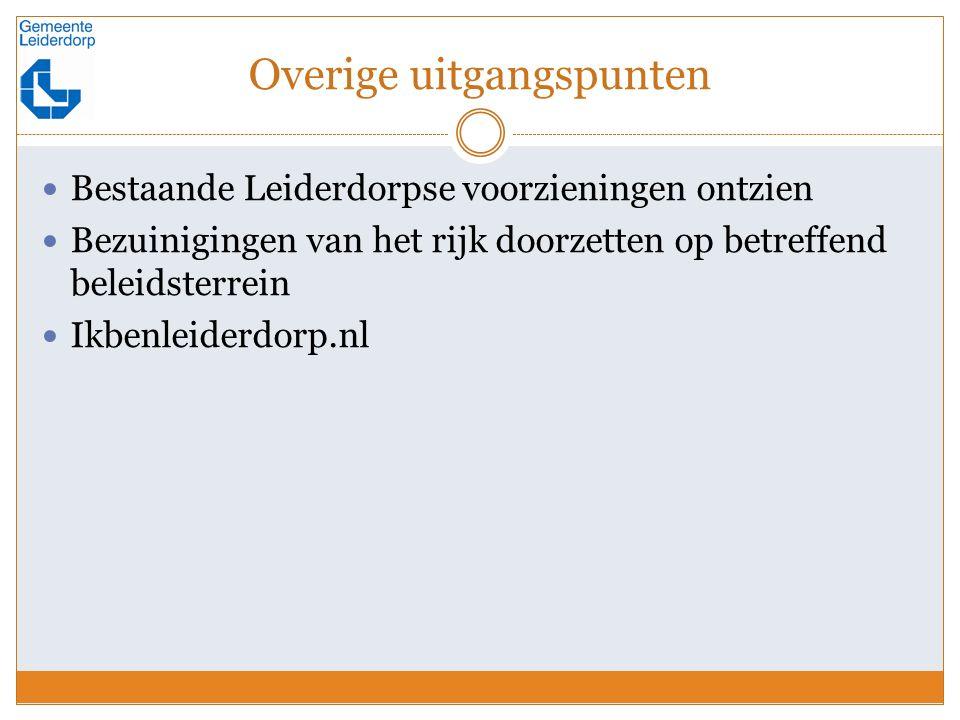 Overige uitgangspunten Bestaande Leiderdorpse voorzieningen ontzien Bezuinigingen van het rijk doorzetten op betreffend beleidsterrein Ikbenleiderdorp.nl