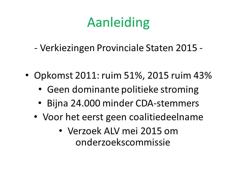 Aanleiding - Verkiezingen Provinciale Staten 2015 - Opkomst 2011: ruim 51%, 2015 ruim 43% Geen dominante politieke stroming Bijna 24.000 minder CDA-stemmers Voor het eerst geen coalitiedeelname Verzoek ALV mei 2015 om onderzoekscommissie