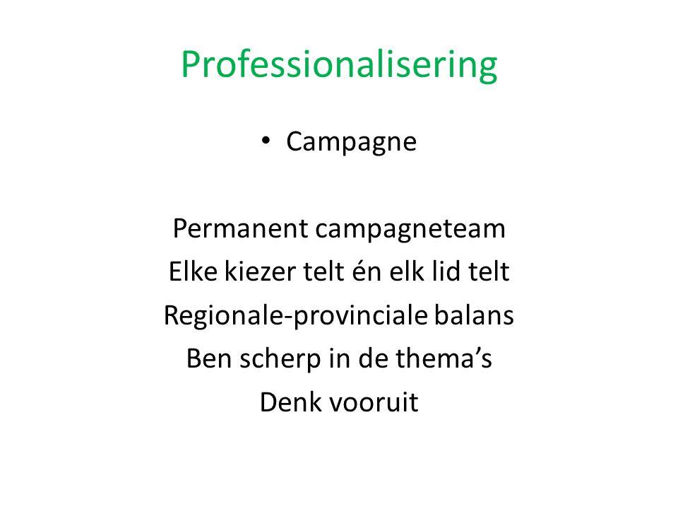 Professionalisering Campagne Permanent campagneteam Elke kiezer telt én elk lid telt Regionale-provinciale balans Ben scherp in de thema's Denk vooruit