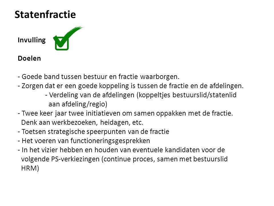 Statenfractie Invulling Doelen - Goede band tussen bestuur en fractie waarborgen.