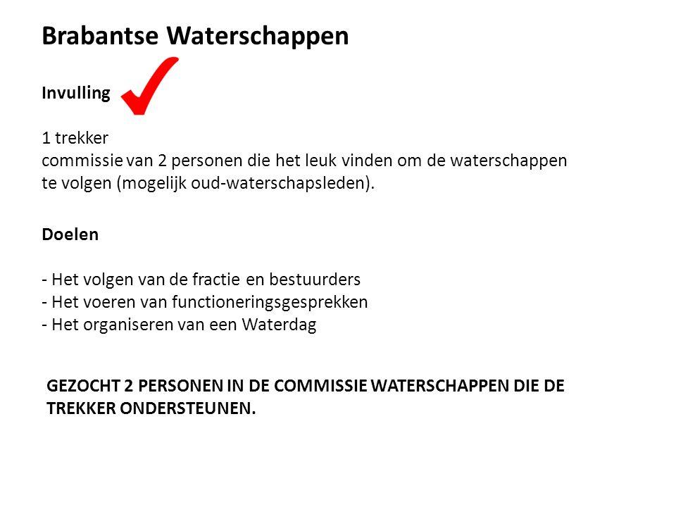 Doelen - Het volgen van de fractie en bestuurders - Het voeren van functioneringsgesprekken - Het organiseren van een Waterdag Brabantse Waterschappen Invulling 1 trekker commissie van 2 personen die het leuk vinden om de waterschappen te volgen (mogelijk oud-waterschapsleden).