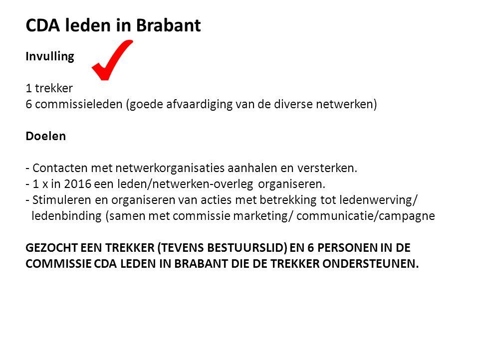 CDA leden in Brabant Invulling 1 trekker 6 commissieleden (goede afvaardiging van de diverse netwerken) Doelen - Contacten met netwerkorganisaties aanhalen en versterken.