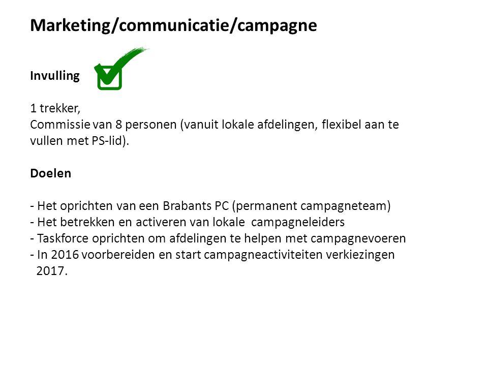 Marketing/communicatie/campagne Invulling 1 trekker, Commissie van 8 personen (vanuit lokale afdelingen, flexibel aan te vullen met PS-lid).