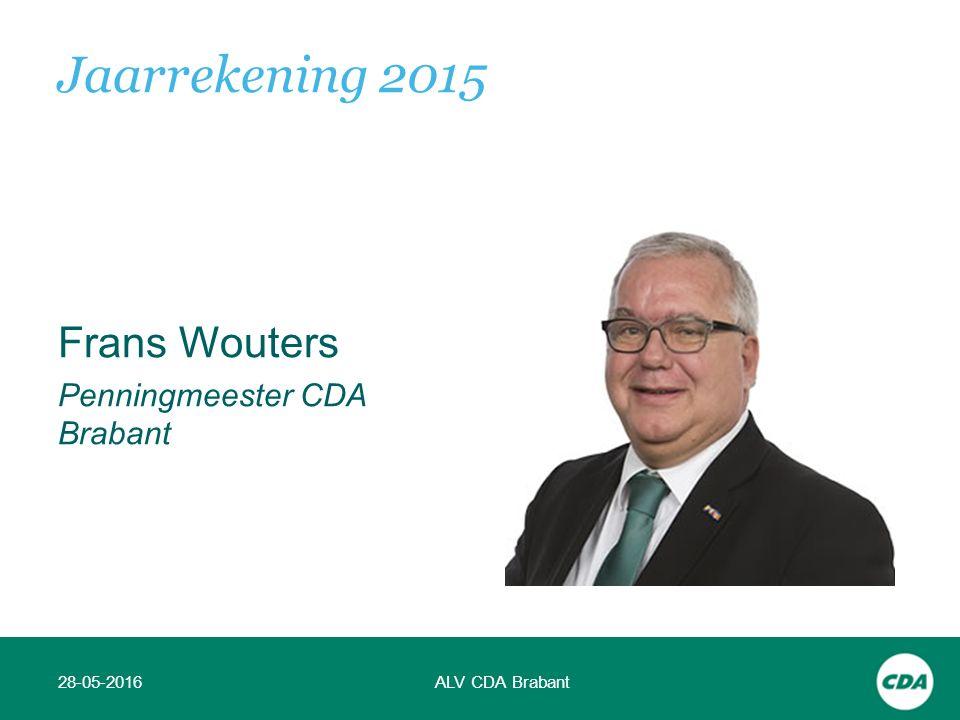 Frans Wouters Penningmeester CDA Brabant 28-05-2016ALV CDA Brabant Jaarrekening 2015