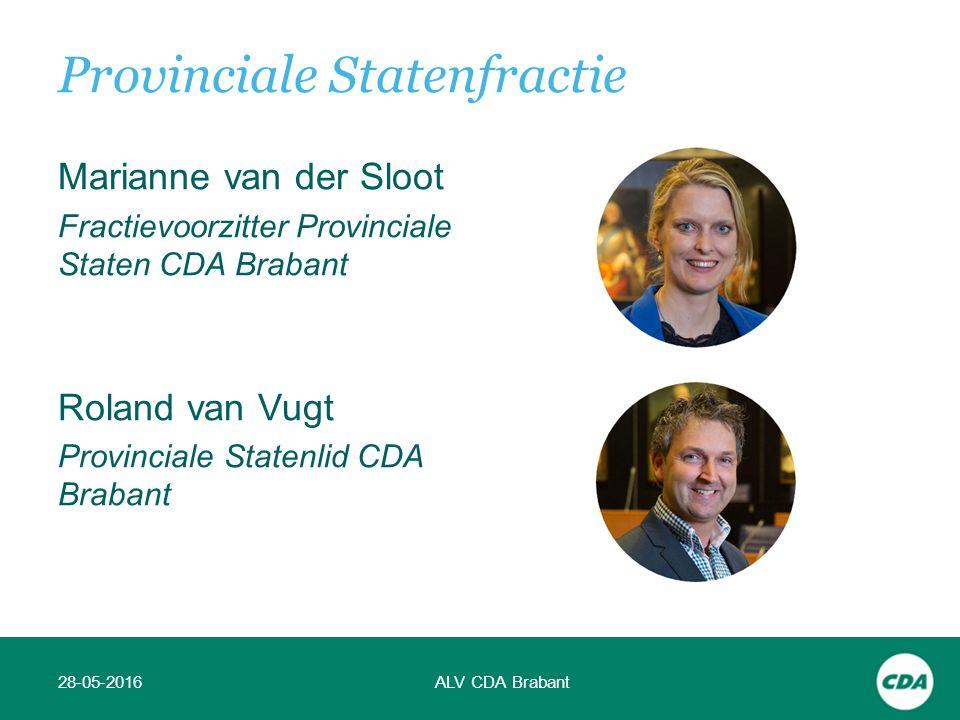 Marianne van der Sloot Fractievoorzitter Provinciale Staten CDA Brabant Roland van Vugt Provinciale Statenlid CDA Brabant 28-05-2016ALV CDA Brabant Provinciale Statenfractie