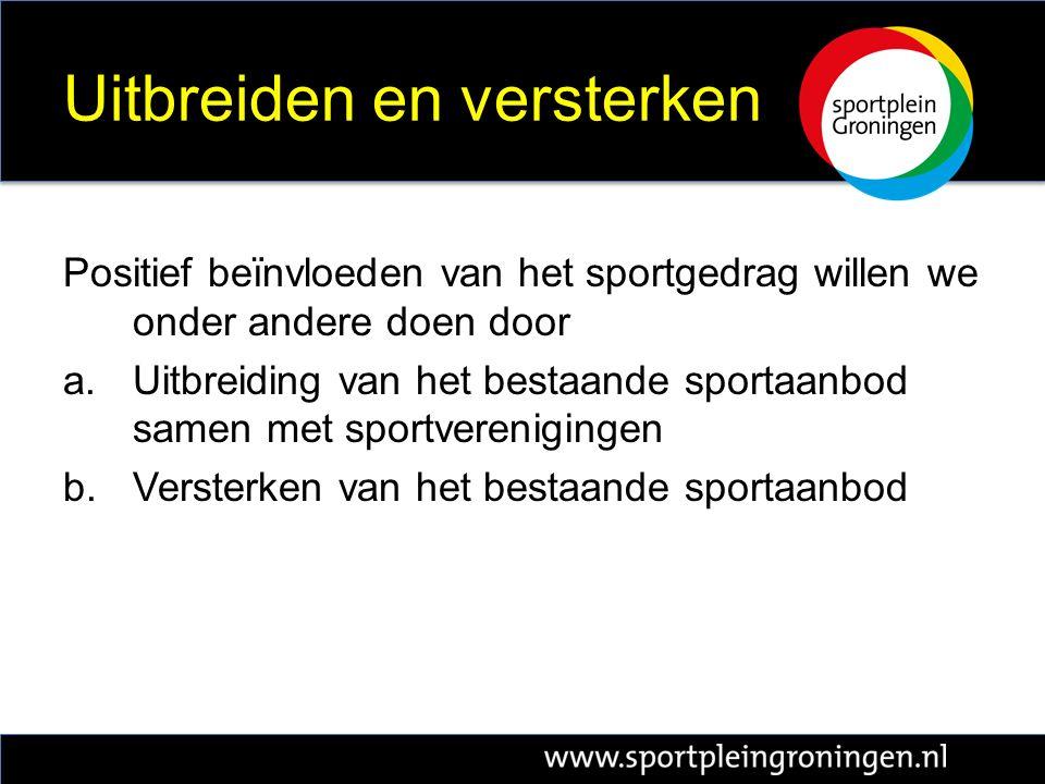 Uitbreiden en versterken Positief beïnvloeden van het sportgedrag willen we onder andere doen door a.Uitbreiding van het bestaande sportaanbod samen met sportverenigingen b.Versterken van het bestaande sportaanbod
