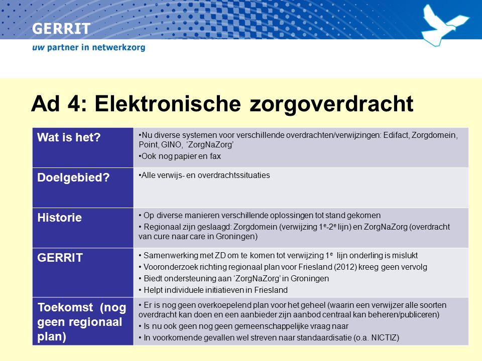 Ad 4: Elektronische zorgoverdracht Wat is het? Nu diverse systemen voor verschillende overdrachten/verwijzingen: Edifact, Zorgdomein, Point, GINO, 'Zo