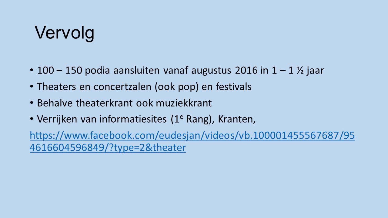 Vervolg 100 – 150 podia aansluiten vanaf augustus 2016 in 1 – 1 ½ jaar Theaters en concertzalen (ook pop) en festivals Behalve theaterkrant ook muziekkrant Verrijken van informatiesites (1 e Rang), Kranten, https://www.facebook.com/eudesjan/videos/vb.100001455567687/95 4616604596849/?type=2&theater