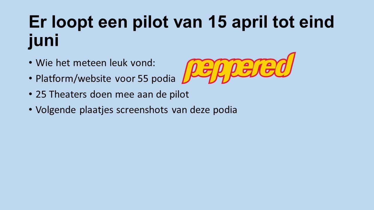 Er loopt een pilot van 15 april tot eind juni Wie het meteen leuk vond: Platform/website voor 55 podia 25 Theaters doen mee aan de pilot Volgende plaatjes screenshots van deze podia