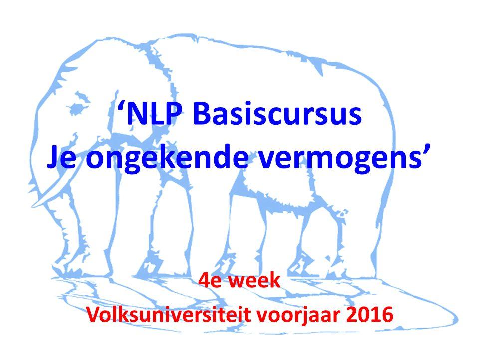 'NLP Basiscursus Je ongekende vermogens' 4e week Volksuniversiteit voorjaar 2016