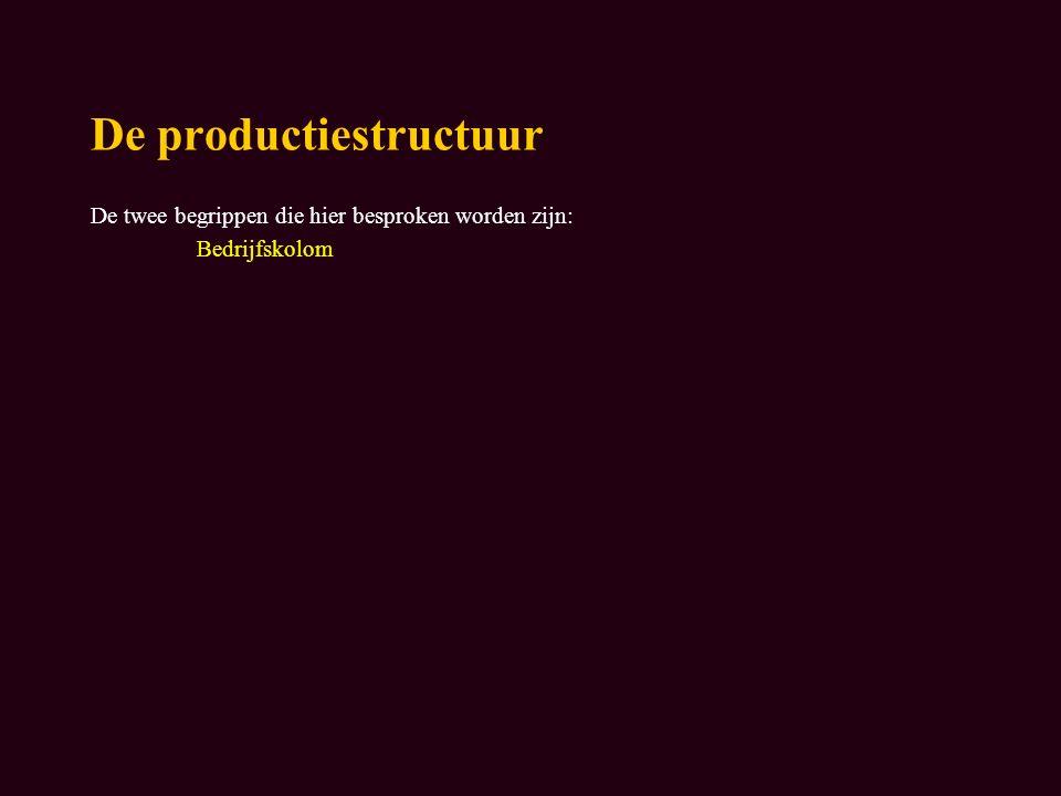 De productiestructuur De twee begrippen die hier besproken worden zijn: Bedrijfskolom