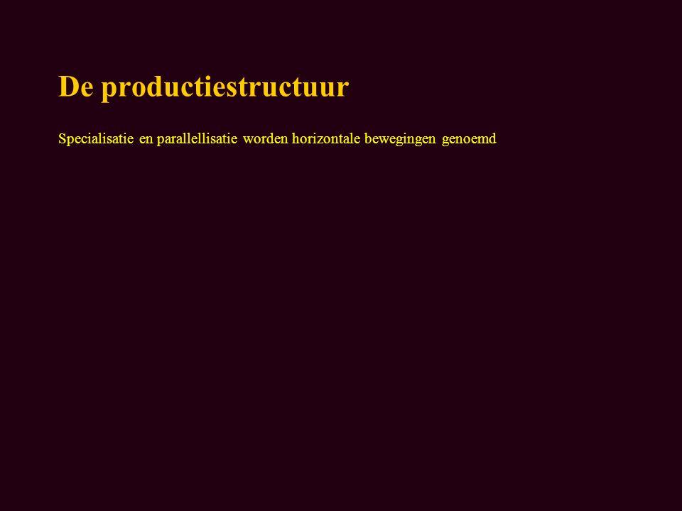 De productiestructuur Specialisatie en parallellisatie worden horizontale bewegingen genoemd